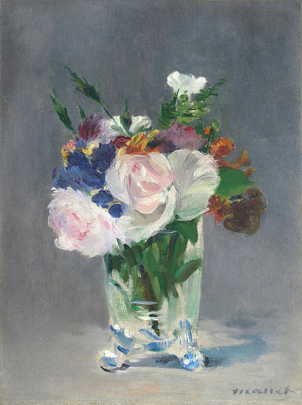 Edouard Manet Art Print featuring the painting Flowers In A Crystal Vase by Edouard Manet