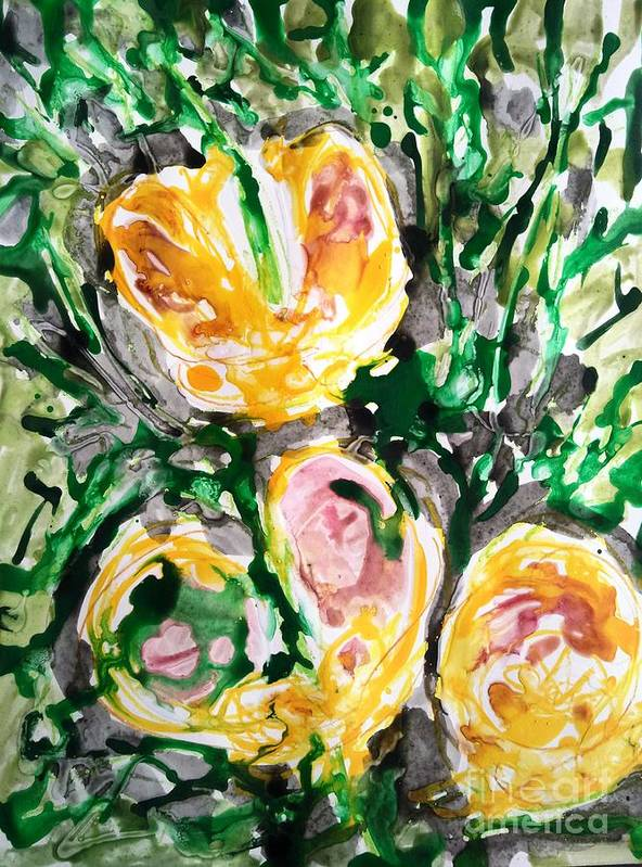 Nature Art Print featuring the painting Divine Flowers by Baljit Chadha