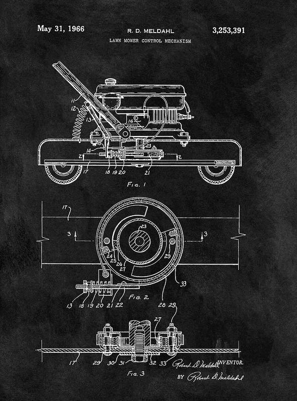 1966 Lawn Mower Patent Art Print featuring the drawing 1966 Lawn Mower Patent Image by Dan Sproul
