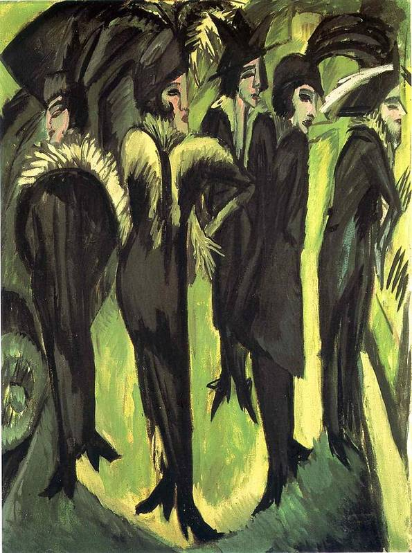 Five Women At The Street - Ernst Ludwig Kirchner Art Print featuring the painting Five Women At The Street by Ernst Ludwig