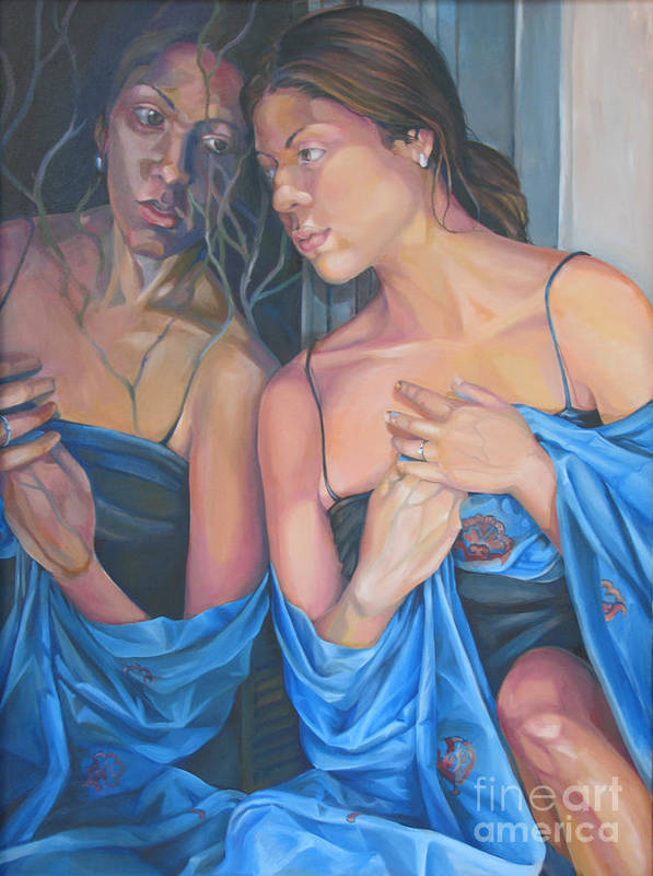 Portrait Art Print featuring the painting Introspect by Julie Orsini Shakher
