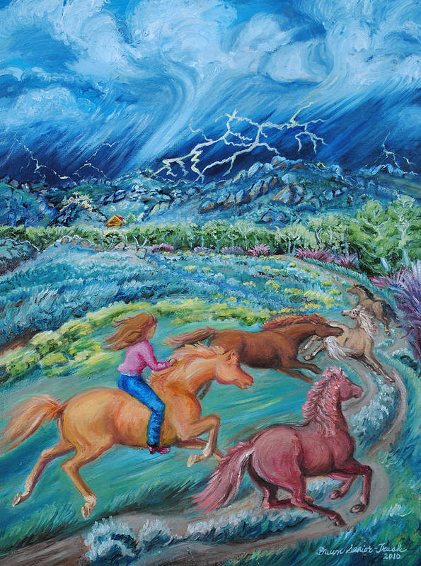 Landscape Art Print featuring the painting Racing The Lightning Home by Dawn Senior-Trask