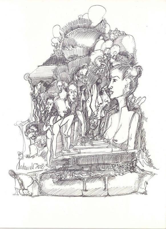 Surreal Art Print featuring the drawing 2009-10 by Padamvir Singh
