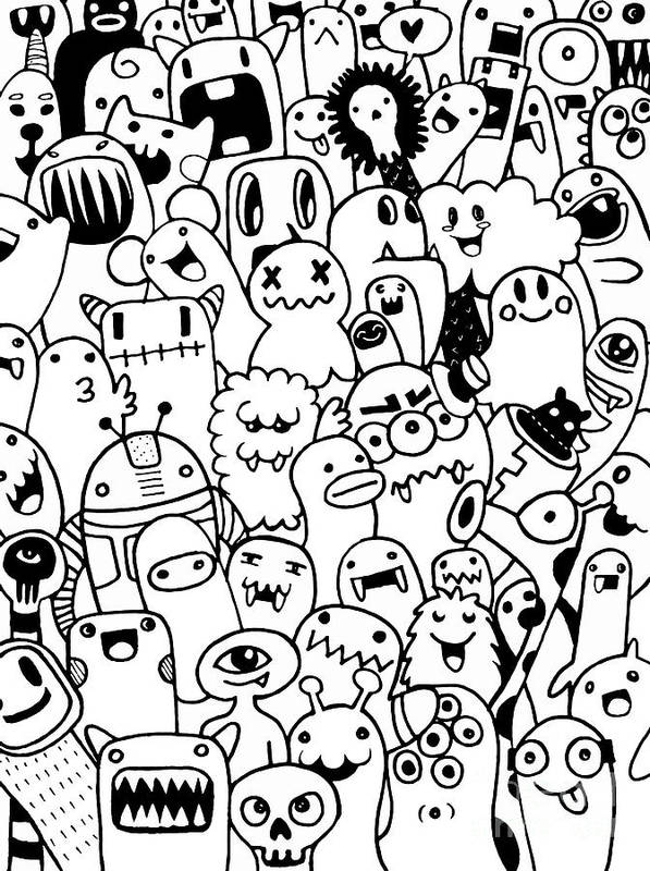 Hand Drawn Aliens And Monsters