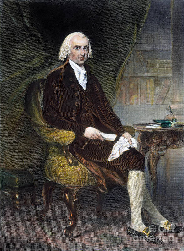 19th Century Print featuring the photograph James Madison (1751-1836) by Granger