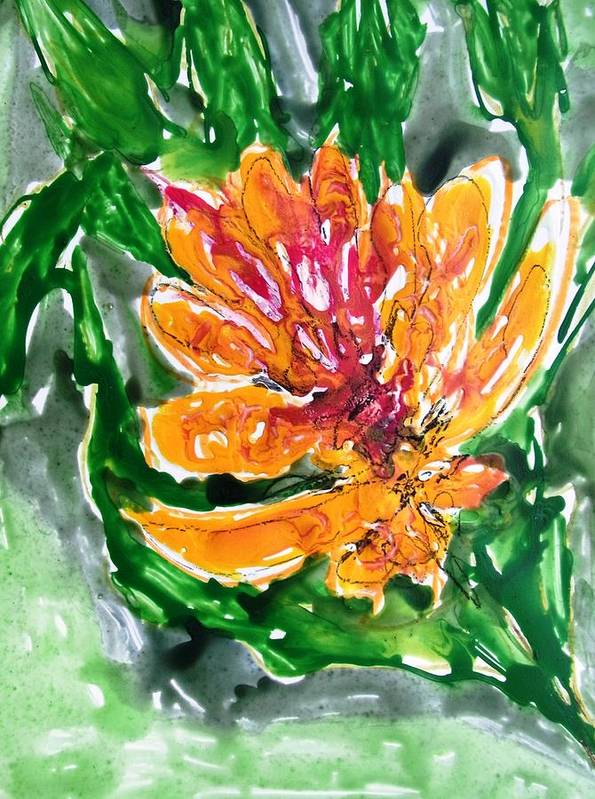 Abstract Paintings Green Yellow Art Print featuring the painting Divine Flowers by Baljit Chadha