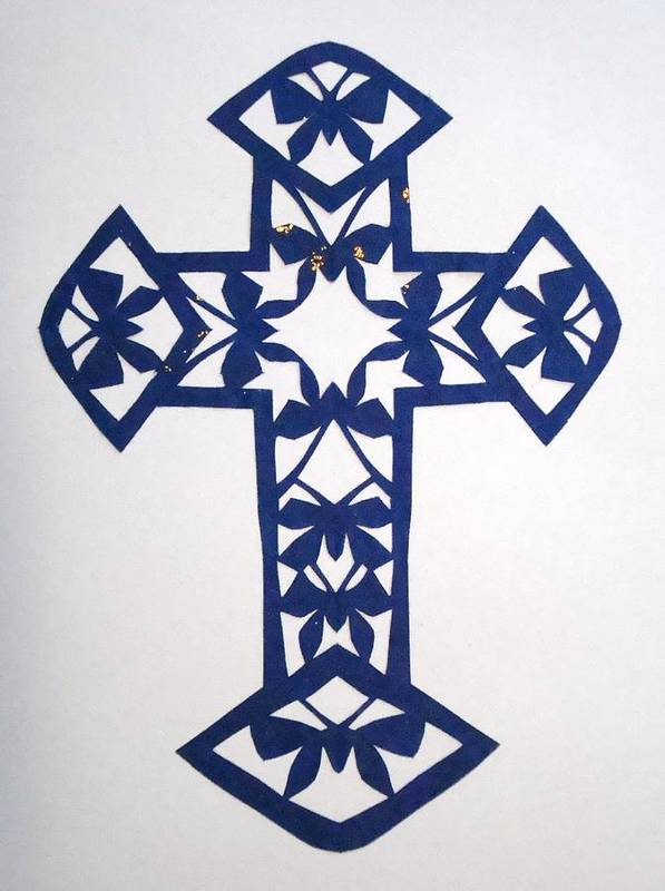 Beliefs Art Print featuring the mixed media Blue Butterfly-cross by Tong Steinle