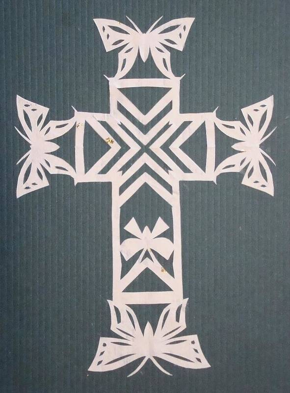 Beliefs Art Print featuring the mixed media White Butterfly-cross by Tong Steinle
