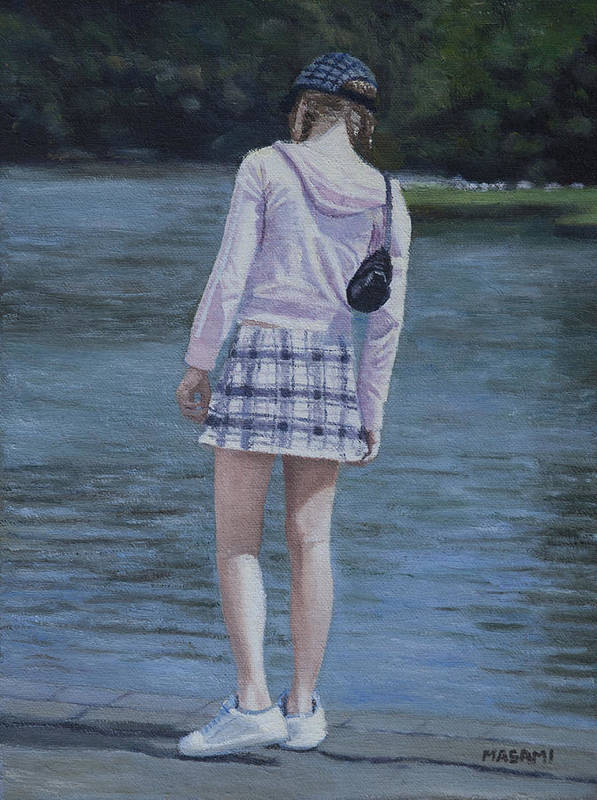 Portrait Art Print featuring the painting Girl In The Park by Masami Iida