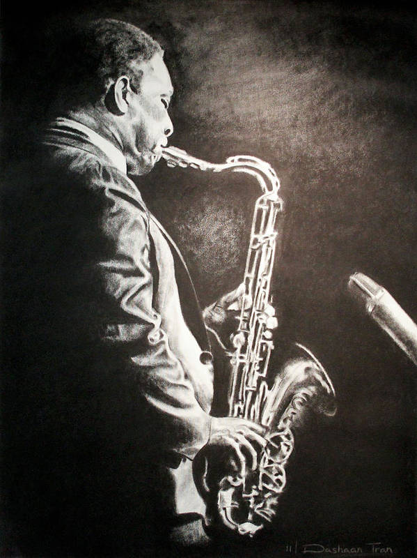 Jazz Print featuring the drawing A Love Supreme by Dashaan V Tran