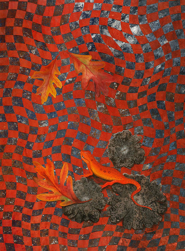 Oak Leave Art Print featuring the painting A Newt Day by Linda L Doucette
