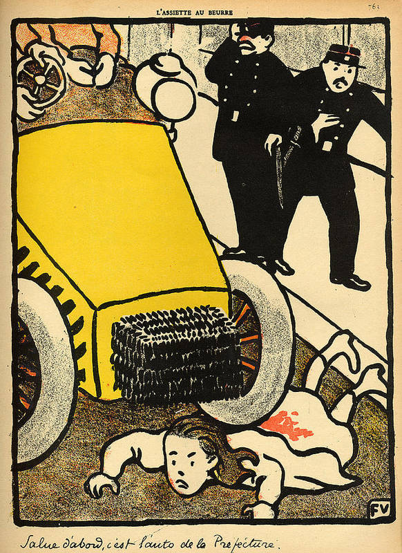 Injustice; Cruelty; Brutality; Abuse; Policeman; Policemen; French; Illustration; Female; Outrage; Authority Art Print featuring the painting A Police Car Runs Over A Little Girl by Felix Edouard Vallotton