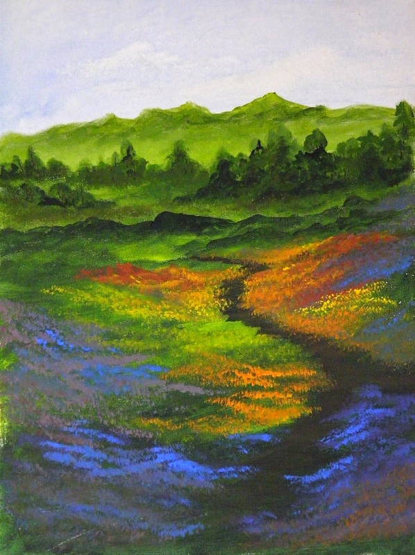 Wildflowers Art Print featuring the painting A Walk Through The Wildflowers by Rhonda Myers