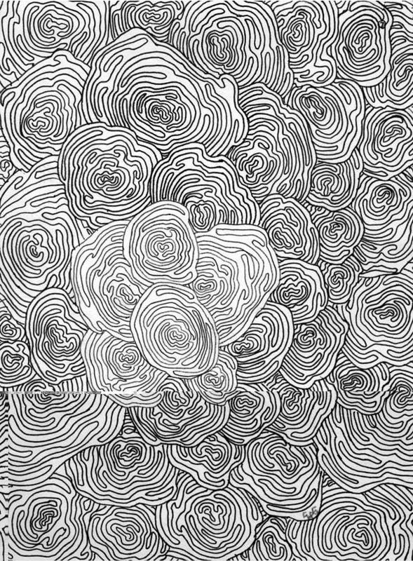 Abstract Art Print featuring the drawing Abstract Swirl Design In Black And White #1 by Eric Strickland