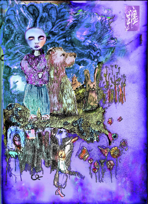 Moon Art Print featuring the mixed media Across The Sky by Cynthia Richards
