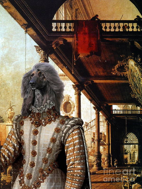 Afghan Hound Canvas Art Print featuring the painting Afghan Hound-capriccio Of Colonade And The Courtyard Of A Palace Canvas Fine Art Print by Sandra Sij