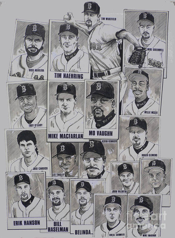 Mbl Art Print featuring the drawing Al East Champions Red Sox Newspaper Poster by Dave Olsen