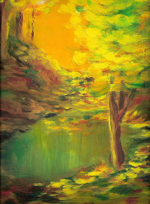Landscape Art Print featuring the painting Aldergrove Lake by Vivian Mosley