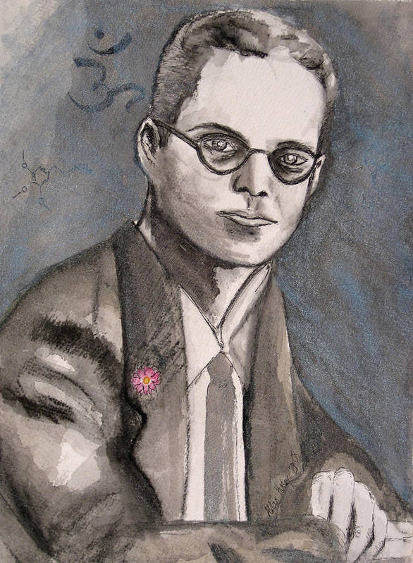 Aldous Brave Darkestartist Huxley New Painting Portrait Watercolor Watercolour World Art Print featuring the painting Aldous Huxley by Darkest Artist