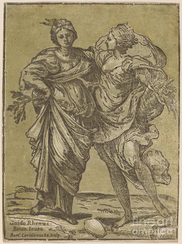 Art Print featuring the drawing Alliance Of Peace And Abundance by Bartolomeo Coriolano After Guido Reni
