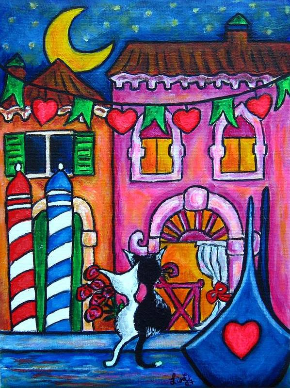 Cats Art Print featuring the painting Amore In Venice by Lisa Lorenz
