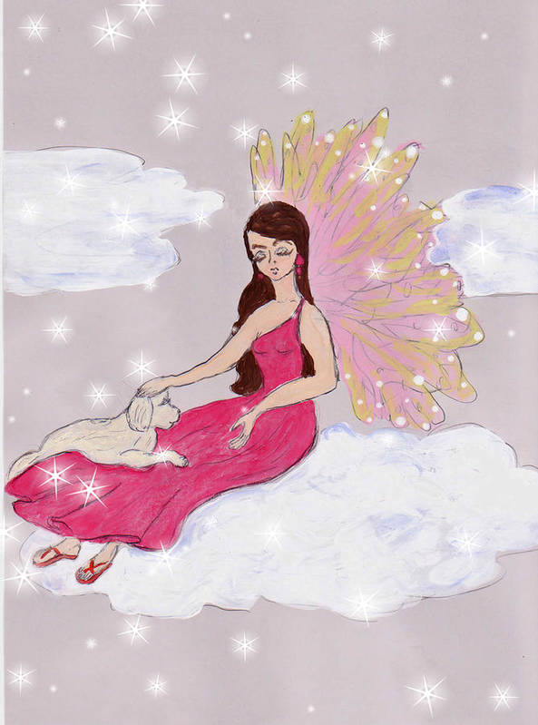 Hand Drawn Art Print featuring the drawing Angel And Her Puppy by Rosalie Scanlon