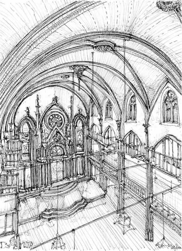 Angel Print featuring the drawing Angel Orensanz Sketch 3 by Adendorff Design