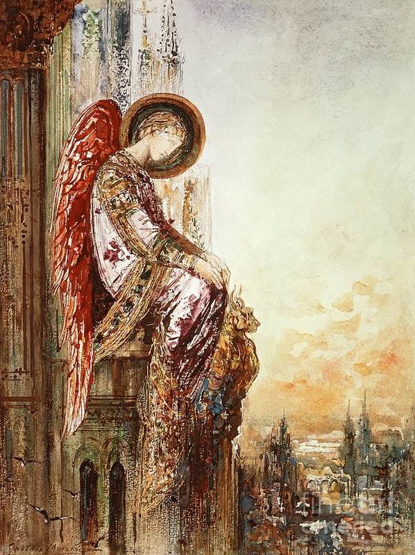 Watercolor Print featuring the painting Angel Traveller by Gustave Moreau