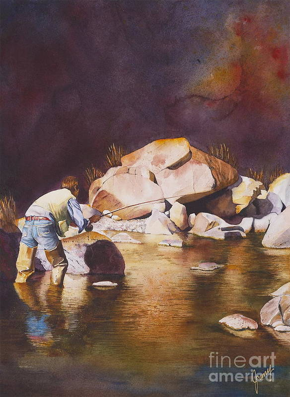 Fly Fisherman Art Print featuring the painting Anticipation by Jany Schindler