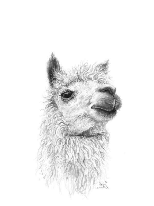 Llama Art Art Print featuring the drawing April by K Llamas