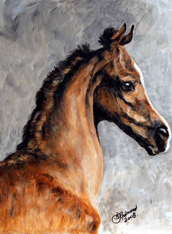 Horse Art Print featuring the painting Arabian Foal by BJ Redmond