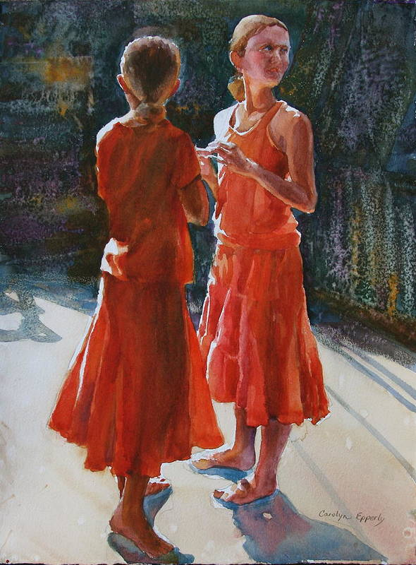 Figures Art Print featuring the painting Are They Twins by Carolyn Epperly