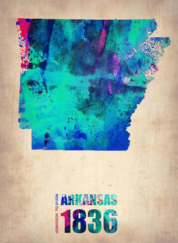 Arkansas Art Print featuring the digital art Arkansas Watercolor Map by Naxart Studio