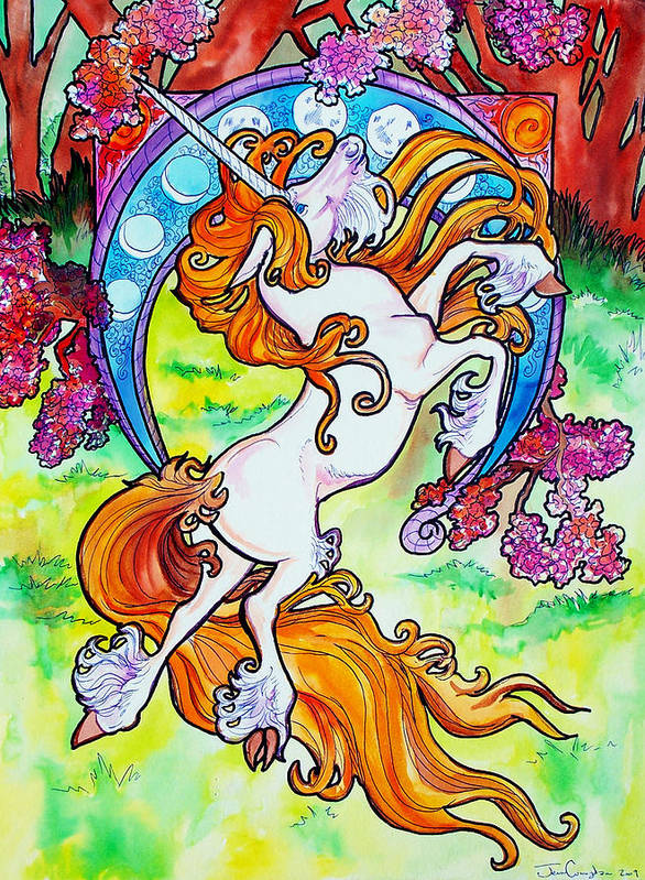 Unicorn Art Print featuring the painting Artsy Nouveau Unicorn by Jenn Cunningham