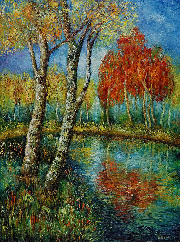 Landscape Art Print featuring the painting Autumn Day. by Evgenia Davidov