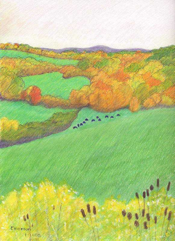 Landscape Art Print featuring the drawing Autumn With Purple Angus by Harriet Emerson