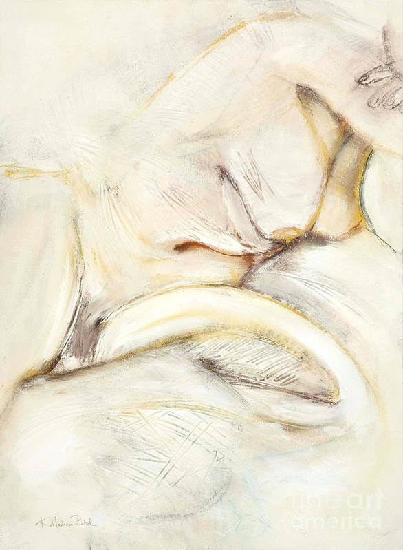 Female Art Print featuring the drawing Award Winning Abstract Nude by Kerryn Madsen-Pietsch