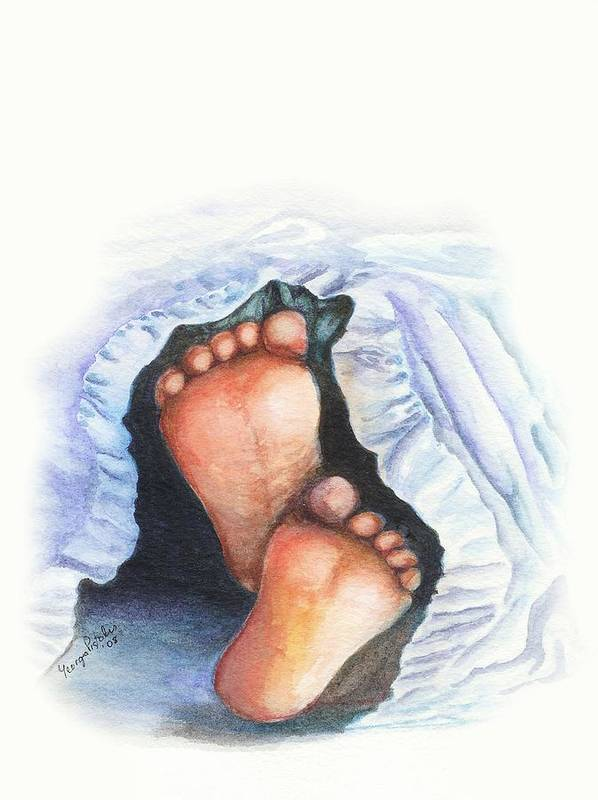 Baby Feet Art Print featuring the painting Baby Feet by Georgia Pistolis