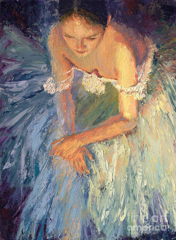 Ballerina (framed) Art Print featuring the painting Ballerina Resting by Colleen Murphy