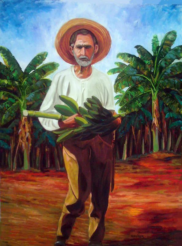 Cuban Art Art Print featuring the painting Banana Farmer by Jose Manuel Abraham