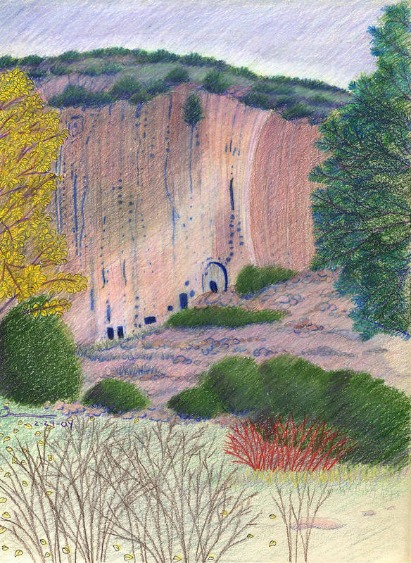 Bandelier National Monument Art Print featuring the drawing Bandelier 2004 by Harriet Emerson