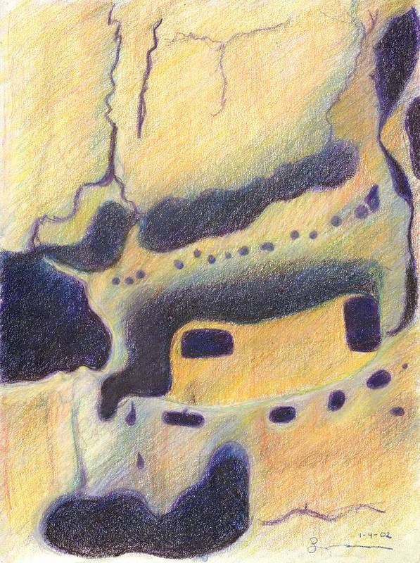 Bandelier National Monument Art Print featuring the drawing Bandelier I by Harriet Emerson