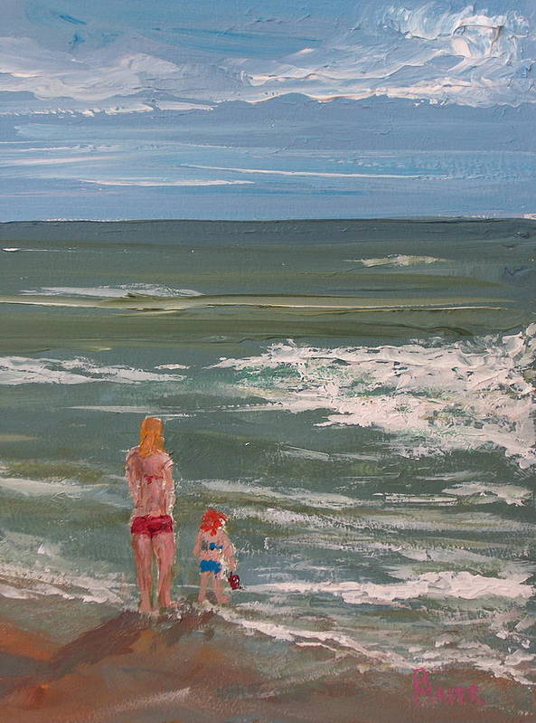 Seascape Art Print featuring the painting Beach Babes by Pete Maier