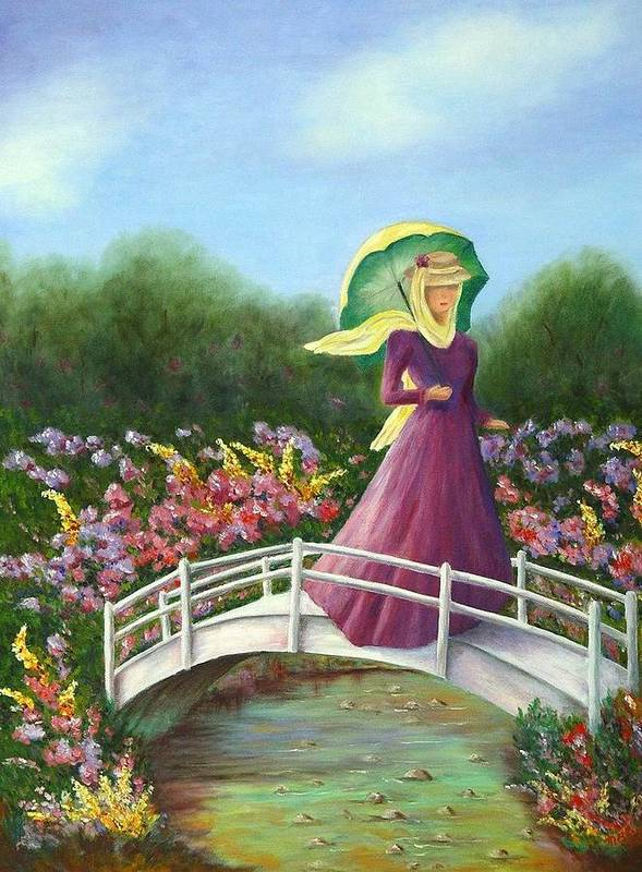 Lady With Flowers Art Print featuring the painting Beauty Wherever She Goes by Merle Blair