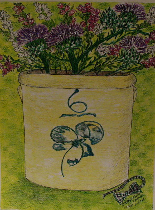 Bee Sting Crock Art Print featuring the painting Bee Sting Crock With Good Luck Bow Heather And Thistles by Kathy Marrs Chandler