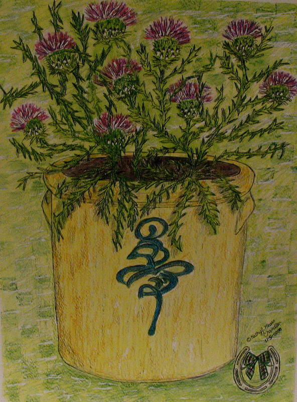 Vintage Art Print featuring the painting Bee Sting Crock With Good Luck Horseshoe by Kathy Marrs Chandler