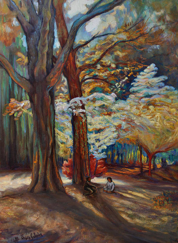 Trees Art Print featuring the painting Below The Blossums by Maris Salmins