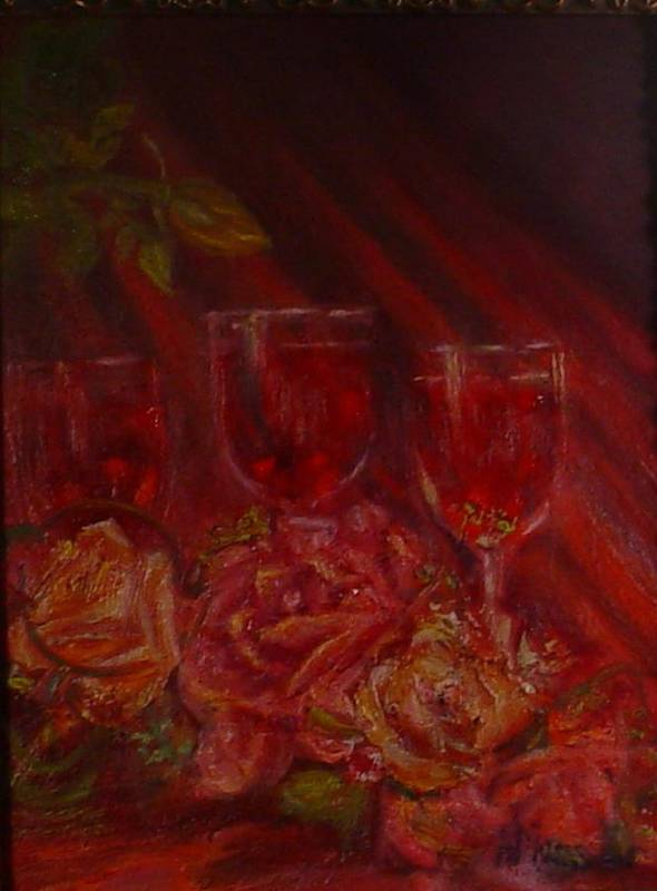 Wine And Roses Art Print featuring the mixed media Beringer Cabernet Savignon by Helen Musser