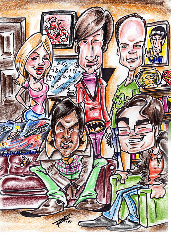 Big Bang Theory Print featuring the drawing Big Bang Theory by Big Mike Roate