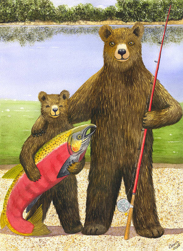 Bear Art Print featuring the painting Big Fish by Catherine G McElroy